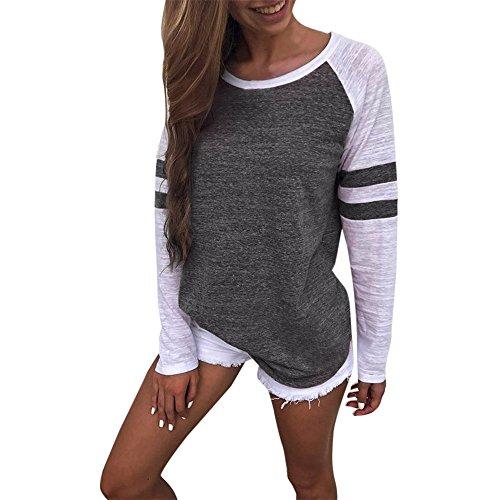 Damen Bluse ,EUZeo Frauen Bluse Aus der Schulter Tops runden Hals lockere T-Shirts Bluse Sweatshirt (M, Dunkelgrau-Patchwork) (Hals Baumwolle Runde Lockere)