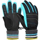 Vbiger Kinder Skihandschuhe Warme Winter Handschuhe Kalt Wetter Handschuhe Reißfeste Outdoor Sport Handschuhe mit extra langen Ärmeln Faltbare Manschette für Junge und Mädchen , Blau, S (6-8 Jahre)