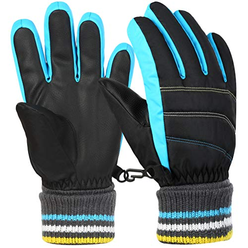 Vbiger Kinder Skihandschuhe Warme Winter Handschuhe Kalt Wetter Handschuhe Reißfeste Outdoor Sport Handschuhe mit extra langen Ärmeln Faltbare Manschette für Junge und Mädchen , Blau, M (8-10 Jahre)