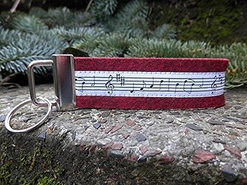 Schlüsselanhänger Schlüsselband Wollfilz schwarz rot Noten Musik schwarz weiß!