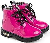 DADAWEN Mixte Enfant /Garçon /Fille /Bébé Waterproof Lace-Up Boots Rose 35