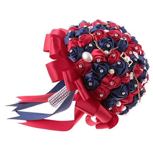 Magideal bouquet di raso da sposa damigella d'onore fiori di nozze con perla strass accessori per matrimonio cerimonia nuziale - rosso e blu