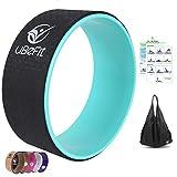 uBeFit ruota di yoga con eBook e borsa - Puntello Yoga per migliorare i piegamenti all'indietro e le posizioni yoga - Eccellente per allungare, migliorare la flessibilità, l'equilibrio e la forza