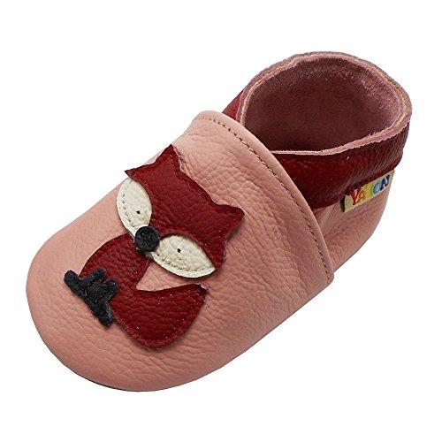 Yalion Premium Weich Leder Babyschuhe Krabbelschuhe Lauflernschuhe Hausschuhe mit Fuchs Rosa, 12-18 Monate