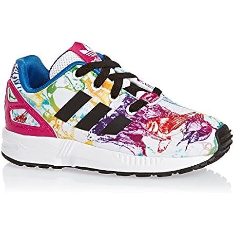 adidas Zx Flux El I - Zapatillas de gimnasia de Material Sintético para niña blanco blanco