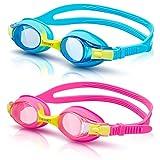 VETOKY Kinder Schwimmbrille, Antibeschlag Schwimmbrillen UV Schutz Kristallklare Sicht kein Auslaufen für Mädchen und Jungen Altersgruppen 3-10 Jahre Blau+Rot