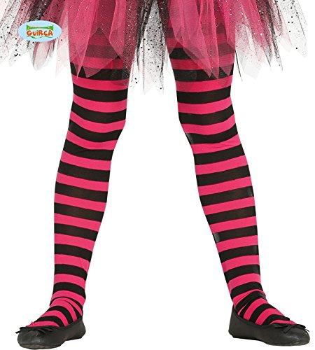 Guirca Schwarz Pink Netz Strumpfhose für Kinder Zubehör für Party Kostüm Fasching Karneval