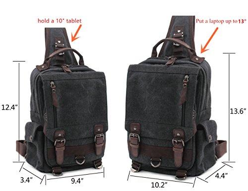 Leaper Vintage Canvas Rucksack Handtasche Schultasche für Outdoor Außflug Sport(XS,Armeegrün) S,Khaki