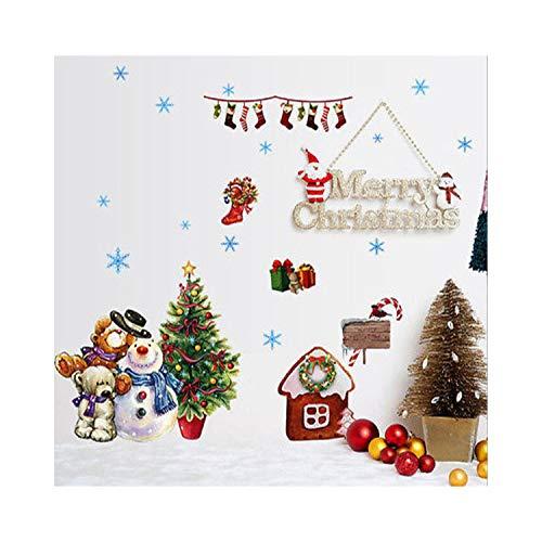 Blossom Socken (SDAFEWGH Weihnachten Wal Decal Happy Snowman Rentier Schneeflocke Wandtattoos Schöne Bär Weihnachten Socken Fenster Aufkleber Kinder Wohnzimmer Dekor)