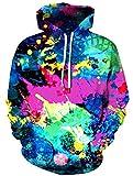 Ocean Plus Herren Kapuzenpullover Lebensecht 3D Grafik Hoodie mit Kängurutasche Pullover mit Kapuze Sweat Hood (L/XL (Brustumfang: 114-134CM), Gekritzel Bunt)