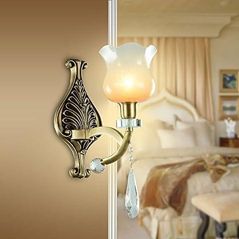 BBSLT Lampada a parete rame europea giada cristallo lampada lampada da comodino camera da letto soggiorno americano lampada bronzo lampada lampade da parete 250 * 320mm