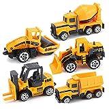 AOLVO 5er Baufahrzeuge Kinder Set ab 3 Jahre, 1:64 Mini Spielautos Metall Set mit Bagger Sandkasten Straßenwalz LKW Gabelstapler & Mischer für Kinder Feuerwehrauto Konstruktionsspielzeug Militärfahrz