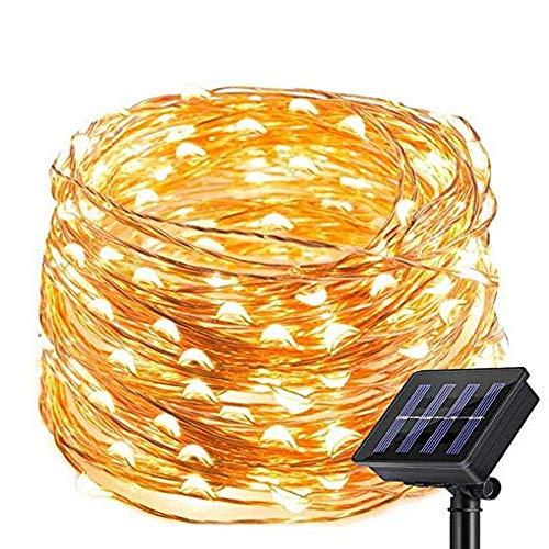 Nurkoo Solar Lichterkette Aussen, 20M 200 LED Außen IP64 Wasserdicht 1000mAh Kupferdraht Lichterketten für Weihnachten Partys Garten Hochzeiten Dekoration, Warmweiß
