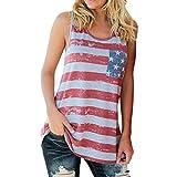 Eagerness Damen Tank Top Amerikanische Flagge Print Rundhlas Oberteile Loose Ärmellos Lässig Streifen Sternen Sommer T-Shirt Damenweste