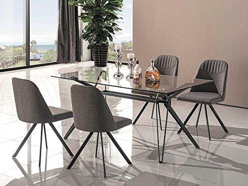 Glastisch Küchentisch 'Tivoli'160x90 Esstisch Esszimmertisch Metallgestell Grau Tisch