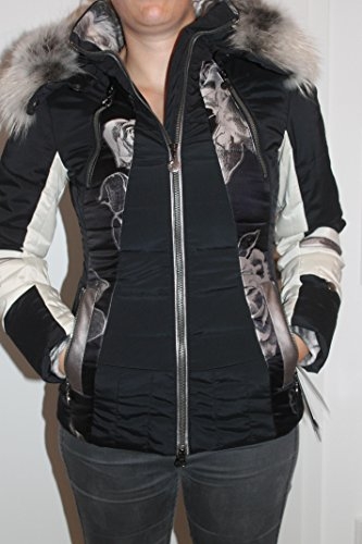 Sportalm Kitzbühel Damen Wedgwood Ski Winter Jacke mit Echt Pelz Schwarz Beige Größe 34 XS
