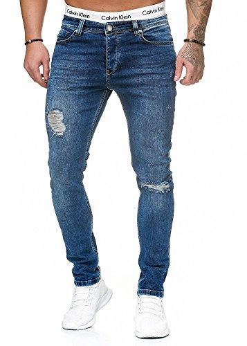 OneRedox Herren Jeans Denim Slim Fit Used Design Modell 5095 Blue 31/32