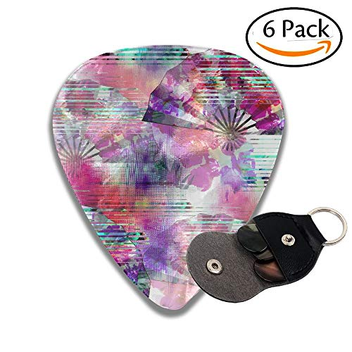 Seamless Pattern With Glitch Design Cyber Floral Background With Folding Fans Digital Print Stylish Celluloid Guitar Picks Plectrums For Guitar Bass 6 Pack.96mm