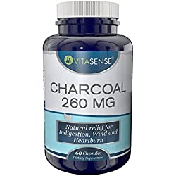 VitaSense Holzkohle 260 Mg - Natürliche Erleichterung bei Verdauungsstörung, Blähungen und Sodbrennen - 60 Kapseln by TARGARIAN