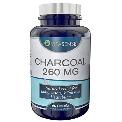VitaSense Charbon 260mg - Relief Naturel Pour L'indigestion, Gaz Intestinaux Et Brûlures D'Estomac - 60 Capsules
