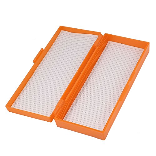 sourcingmap-orange-plastic-shell-50-slots-rectangular-microscope-glass-slide-box