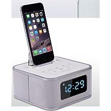 Shine @ iristime multiusos inalámbrico Bluetooth Altavoz Apoyo con reloj despertador, carga para iPhone (interfaz de iluminación), FM Radio (s1pro)