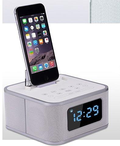 Shine @ Iristime multi-usages Haut-parleur sans fil Bluetooth prise en charge avec alarme Horloge, éclairage de chargement pour iPhone (Interface), radio FM (S1pro)