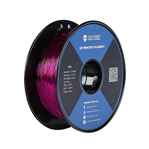 SainSmart Flexible TPU 3D Filament for 3D Printers 3D Drucker, 1,75 mm, 800g Spool (Violett)