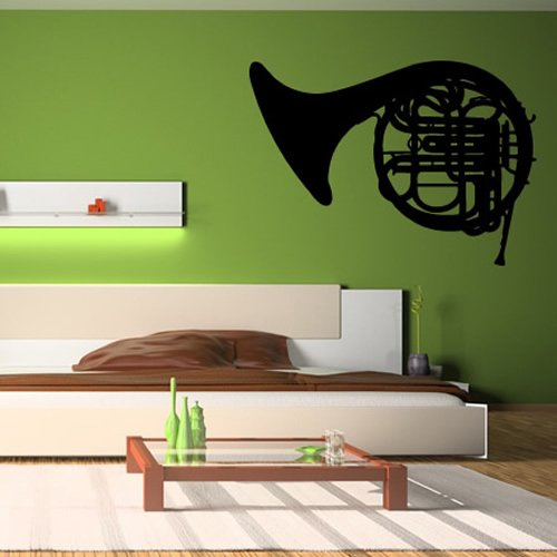 Waldhorn-Windmessing-Band-Musiknoten-Instrumente-Wandaufkleber-Musik-Abziehbild-verfgbar-in-5-Gren-und-25-Farben-X-Gro-Schwarz