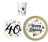 Party-Geschirr Set für 40 Geburtstag - Teller Becher Servietten (16 Personen)