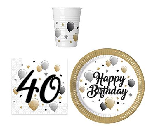 Party-Geschirr Set für 40 Geburtstag - Teller Becher Servietten (16 Personen) (16. Geschirr Geburtstag)