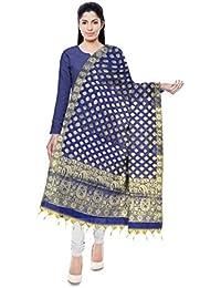 Kashi Fancy Sarees Banarasi Handloom Art Silk Dupatta For Women (Sky Blue)