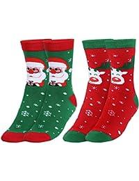 Andake Calcetín de Navidad Medias(2 pares) Calcetines Navideños COOLMAX Regalos Medias de Ocio para Hombre y Mujer