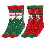 Andake [2 Paar COOLMAX Weihnachtssocken, Weihnachtsmann + Elch] Weihnachtsmotiv warm, Weihnachtsgeschenke witzige Weihnachten Geschenke Socken Strümpfe Freizeitsocken für Männer Frauen, XL