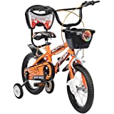 MAD MAXX Steel Kid's Single Speed Road Cycle, 14 inches (Neon Orange)