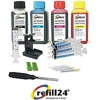 Kit de Recarga para Cartuchos de Tinta Canon 540, 541, 540 XL, 541 XL Negro y Color, Incluye Clip y Accesorios + 400 ML Tinta