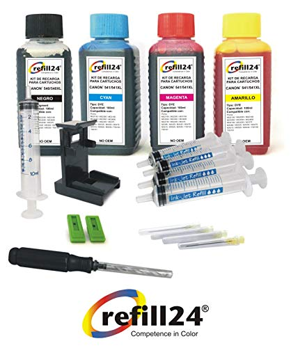 Kit di ricarica per cartucce di inchiostro Canon 540, 541, 540XL, 541xl nero e colore, Inchiostro di alta qualità con clip e accessori