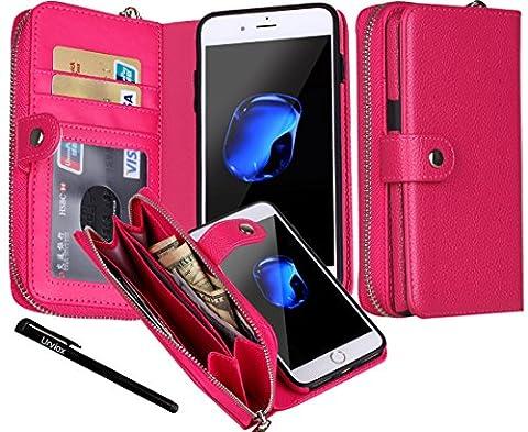 iPhone 7 Plus Case, Urvoix Premium Leather Zipper Wallet Multi-functional Handbag Detachable Removable Magnetic Case with Flip Card Holder Cover for iPhone7 Plus(5.5