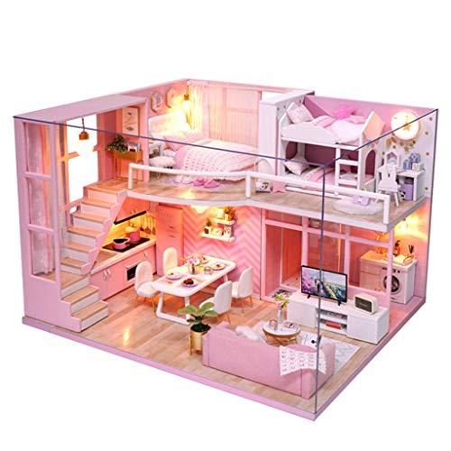 Chenang Pink DIY Puppenhaus ,Traumengel Doll Cottage ,Puppenvilla mit 2 Etagen Miniatur Haus mit LED Beleuchtung Handgefertigt Puppen-Haus Spielzeug Villa Haus Aus Holz