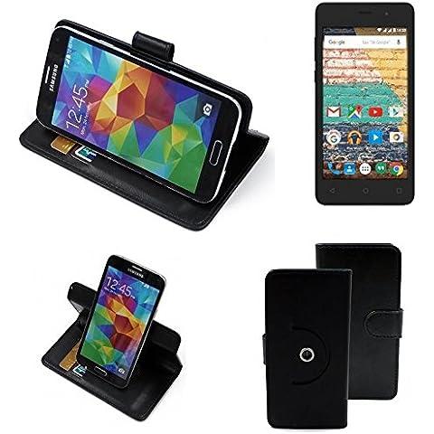 360 ° della copertura della cassa Smartphone Archos 45b Neon, nero | Cassa del raccoglitore stand funzione Bookstyle. Migliore prezzo, migliore prestazione - K-S-Trade