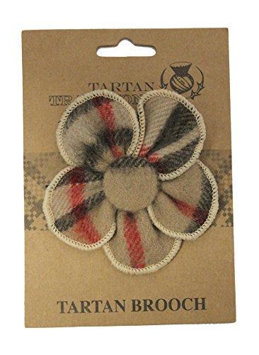 Tartan Traditions Camel Thomson Tartan Flower Brooch -