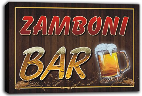 scw3-056822-zamboni-name-home-bar-pub-beer-mugs-stretched-canvas-print-sign