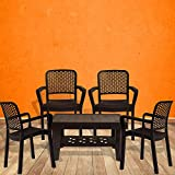 #7: Italica Furniture - Armchair and Table Combo - Indoor and Outdoor Furniture Set  (3018 & 9503, Brown, Set of 4 Chairs)