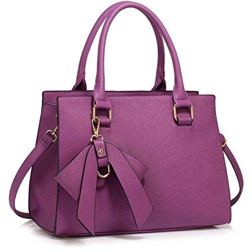 TrendStar Damen Qualität Patents Greifer Frauen Modedesignerin Schulterhandtaschen Z - Lila 2