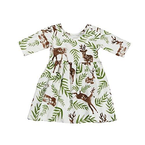 Bekleidung Longra Baby Kinder Mädchen Blumenhirsch Prinzessin Kleid Sommer kurze Ärmel T-shirt Kleid (0-4 Jahre) (100CM 3Jahre, (Kleinkind Hut Kostüm Mütze Katze Im)