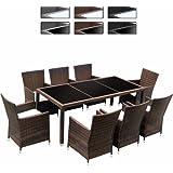 miadomodo set tavolo con sedie da giardino polyrattan 17 pezzi colore marrone