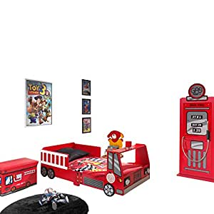 'Autobett sctdft Toddler Fire Truck Kinderbett MDF Rot 157x 77x 60cm