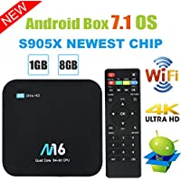 TV Box Android 7.1 - VIDEN Smart TV Box Amlogic S905X Quad Core, 1GB RAM & 8GB ROM, 4K*2K UHD H.265, HDMI, USB*2, 2.4GHz WiFi, Web TV Box, Android Set-Top Box + Control Remoto