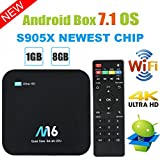 TV Box Android 7.1 – Viden Smart TV Box Amlogic S905 x Quad Core, 1 GB RAM & 8 Go ROM, UHD 4 K * 2 K H.265, HDMI, USB * 2, 2.4 GHz WiFi, Web TV Box, Android Set-Top Box + Télécommande