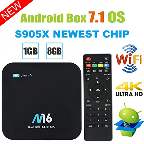TV Box Android 7.1 - VIDEN Smart TV Box Amlogic S905X Quad-Core, 1GB RAM & 8GB ROM, Video 4K UHD H.265, 2 Porte USB, HDMI, WiFi Web TV Box + Telecomando [Nuova versione]